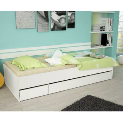 Ágy ágyneműtartóval, fehér, MATIASI