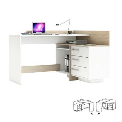 Sarok számítógépasztal,fehér/sonoma tölgyfa, TALE 484881
