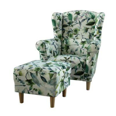 Fotel + puff,minta levélzet, ASTRID