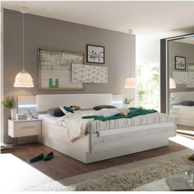 KENTUCKY ágy + 2 éjjeliszekrény, fehér tölgyfa/fehér