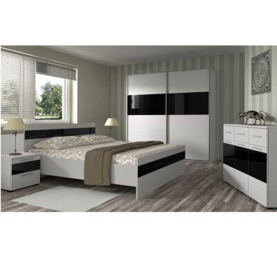 Ágy 160x200,fehér/magasfényű fekete, DEVON NEW