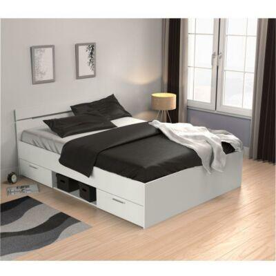 Ágy fiókokkal, 140x200, fehér, MICHIGAN