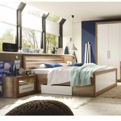 FERARA ágy + 2db éjjeliszekrény, monument tölgy/fehér
