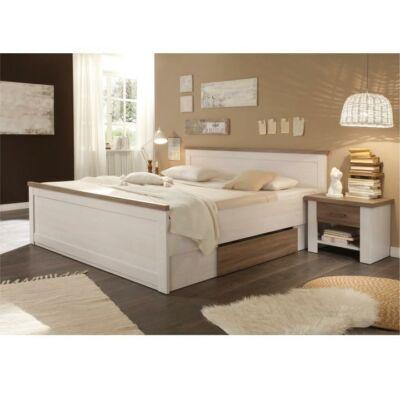 LUMERA ágy + 2 db éjjeliszekrény, mandulafenyő fehér/sonoma tölgy trufla