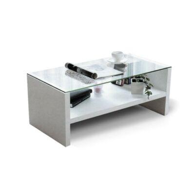 Dohányzóasztal, üveg/fehér, TIBER