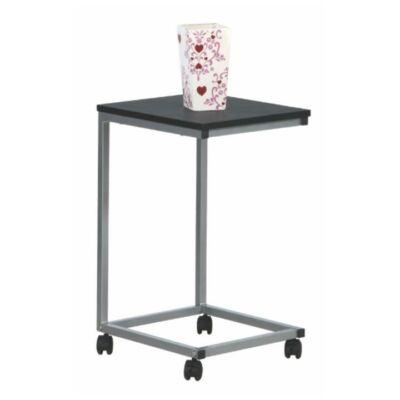 Gurulós kisasztal,MDF (fekete) + fém (ezüst), MANNY