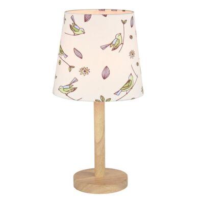 QENNY TYP 7 fából készült  asztali  lámpa  kombinálva  szövet madár mintás