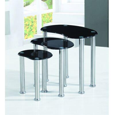 NORMAN szett 3 étkező üvegasztalt tartalmaz, szín: fekete