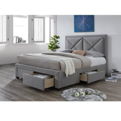 Luxus ágy ágyneműtartóval, szövet szürke melír, 180X200, XADRA