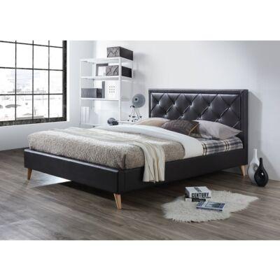 Franciaágy,sötétbarna textilbőr, 180x200, PUFFIE