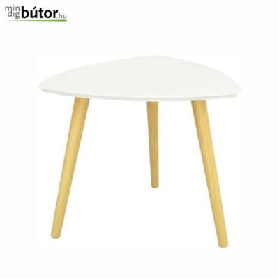 Kisasztal, fehér / természetes fa, TAVAS