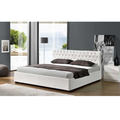 Ágy ágyneműtartóval, fehér, 160x200, DORLEN