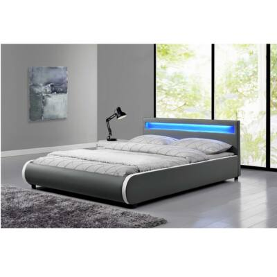 Luxus modern ágy laminált ráccsal, LED világitással, szürke  ekobőr, DULCEA