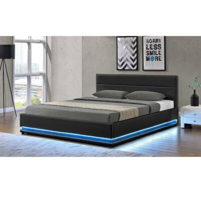 BIRGET luxus modern ágy lécezett ráccsal, fekete bőr, 180x200