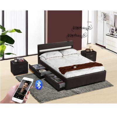 Luxus modern ágy laminált  ráccsal, RGB LED világítással, BLEUTOOTH hangszóróval , fekete ekobőr 180X200 FABALA