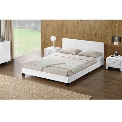 Ágy, fehér textilbőr, 160x200, DANETA