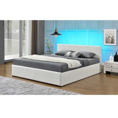 JADA luxus modern ágy laminált ráccsal, RGB LED világítással, fehér ekobőr 160x2