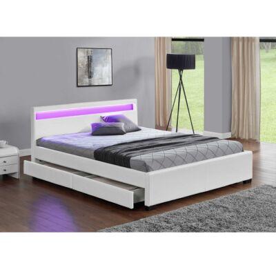 CLARETA luxus modern ágy lécezett ráccsal, fehér ekobőr, 160x200