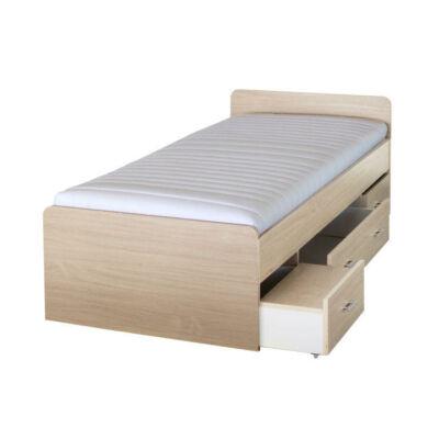 DUET ágy ágyneműtartóval, juharfa, 90x200 cm
