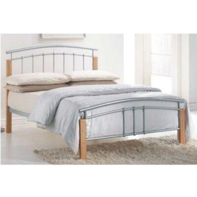 Fém ágy lécezett ráccsal, fém (ezüst) +fa (természetes), 140x200, MIRELA