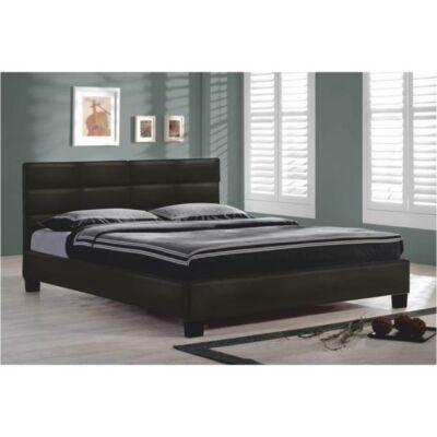Ágy ágyráccsal, 160x200, fekete textilbőr, MIKEL