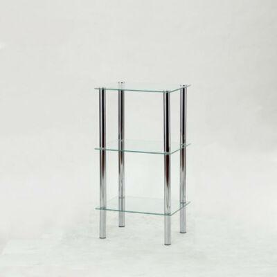 Polcrendszer 3 polccal króm  és  átlátszó üveg FREDDY