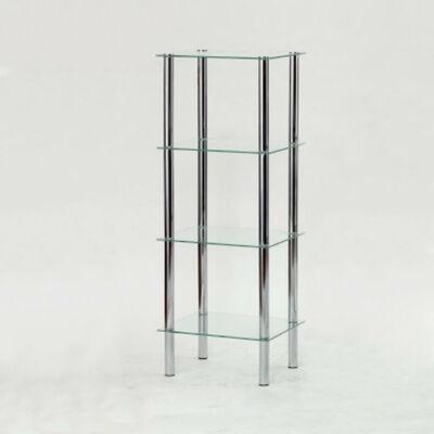 Polcrendszer 4 polccal,  króm + átlátszó üveg, FREDDY