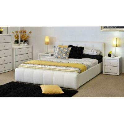 FANTASY ágy, 160x200, fehér textilbőr
