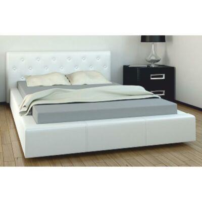 Ágy, fehér textilbőr, 160x200, GERET