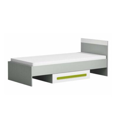 Ágy 90x200,szürke/fehér/zöld, PIERE P12