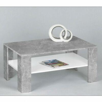 CLARUS dohányzóasztal - fehér és beton szín