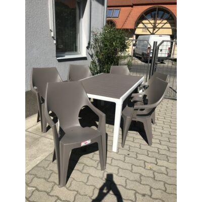1 db HARMONY kerti asztal + 6 db DANTE magastámlás kerti szék cappuccino színben