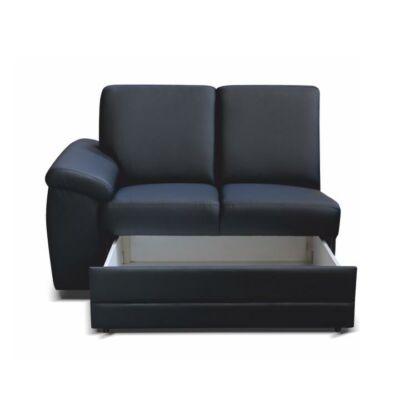 2- személyes kanapé rakodótérrel, műbőr fekete, balos, BITER 2 1B ZS