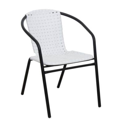Kerti szék, fehér/fekete, BERGOLA