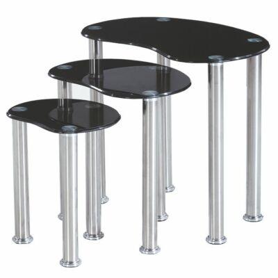 3 darabos konzolasztal szett, fém, fekete edzett üveg/rozsdamentes acél, NORMAN
