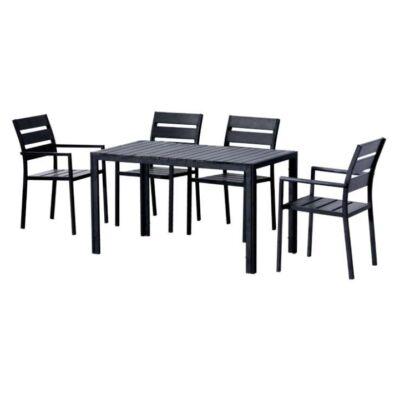 Étkezőgarnitúra 1+4, fekete, GURDUK