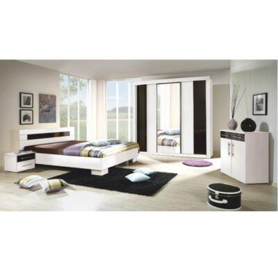 Hálószoba garnitúra, fehér/fekete, Rublin