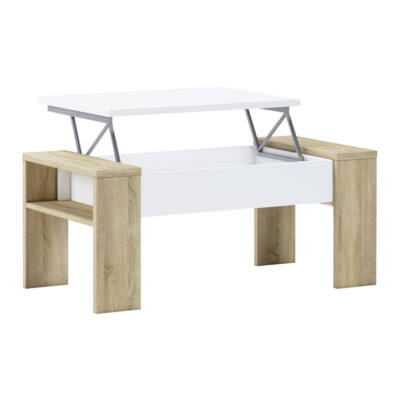 Dohányzóasztal, tölgy sonoma/fehér, PULA