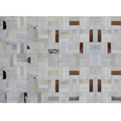 Luxus bőrszőnyeg, fehér/szürke/barna , patchwork, 70x140, bőr TIP 1