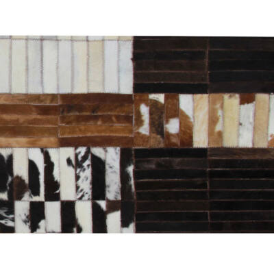 Luxus bőrszőnyeg, fekete/barna /fehér, patchwork, 141x200, bőr TIP 4