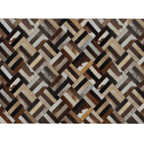 Luxus bőrszőnyeg barna fekete bézs patchwork 140x200  bőr TIP 2