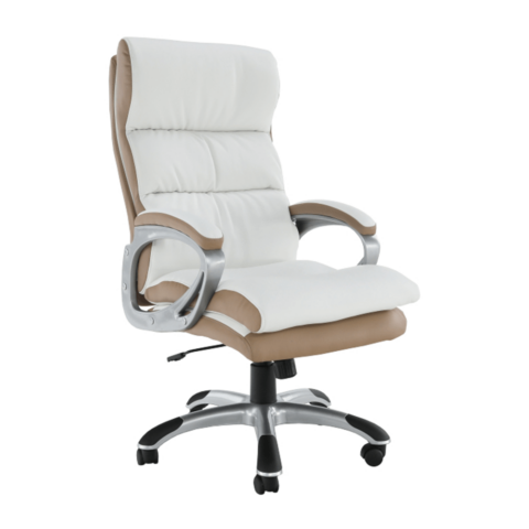 Irodai forgószék fehér barna textilbőr KOLO CH137020