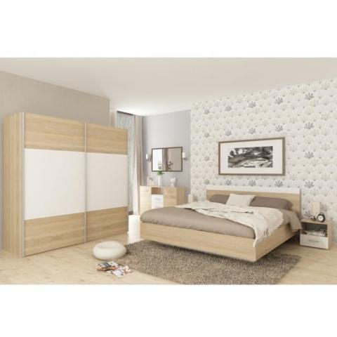 Dupla ágy 160x200 tölgy wotan fehér GABRIELA