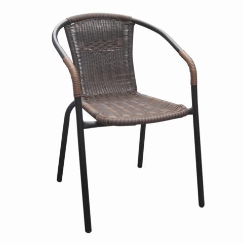Egymásba rakható szék barna fekete fém DOREN