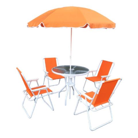 Kerti bútor szett narancssárga fehér ODELO