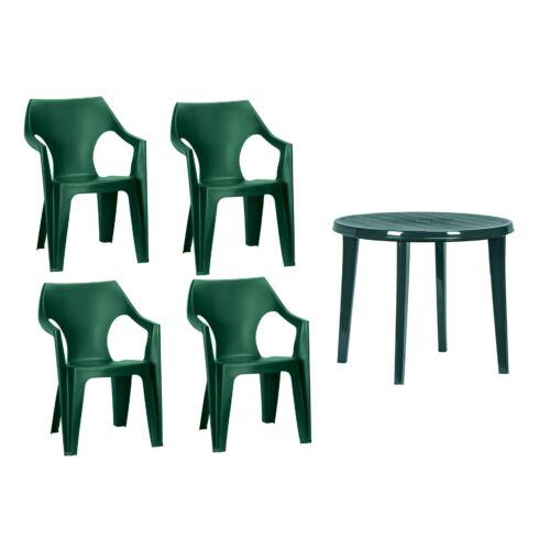 1 db LISA kerti asztal  és  4 db DANTE alacsony támlás kerti szék zöld színben