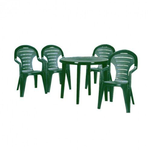 1 db LISA kerti asztal  és  4 db BONAIRE kerti szék (zöld színben)