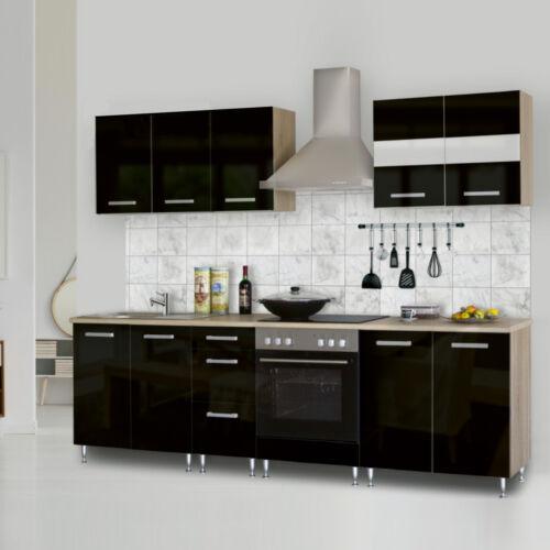 Dorina konyhablokk bútorlap fronttal 200 cm magasfényű fekete