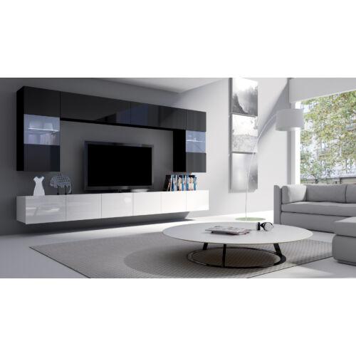 Calabrini magasfényű fekete fehér nappali szekrénysor 300cm