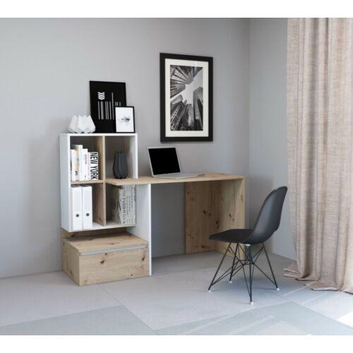 PACO 02 íróasztal fehér-artisan tölgy